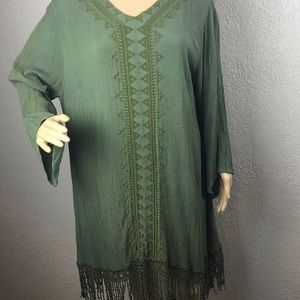 Soft Surroundings green fringe embroidered tunic